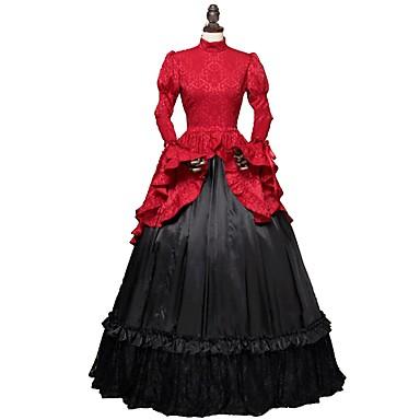 Rococo Victorian Στολές Γυναικεία Φορέματα Κόκκινο+Μαύρο / Στάμπα Πεπαλαιωμένο Cosplay Καθαρό βαμβάκι Πολυέστερ Ζακάρ Μακρυμάνικο Μέχρι τον αστράγαλο