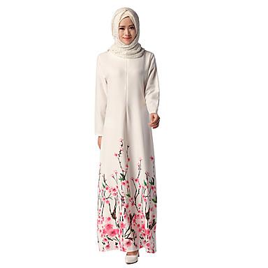 αραβικός Αραβικό φόρεμα Αμπάγια Φόρεμα Kaftan Jalabiya Γυναικεία Φορέματα Ethnic Style Μακρύ Μήκος Γιορτές / Διακοπές Πολυεστέρας Λευκό Αποκριάτικα Κοστούμια Φλοράλ