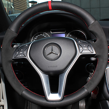 billige Interiørtilbehør til bilen-Rattovertrekk til bilen ekte lær 38 cm Til Mercedes-Benz E klasse / C klasse / B200 Alle år