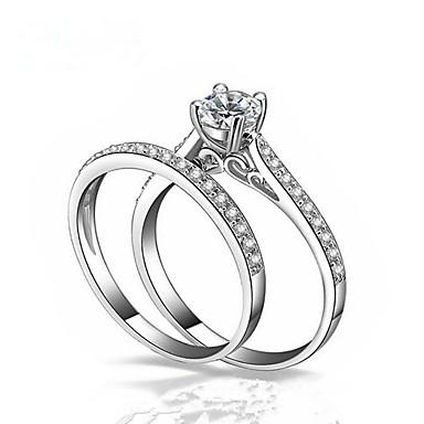 levne Pánské šperky-Pro páry Snubní prsteny obalovací kroužek Diamant Kubický zirkon 2pcs Bílá Měď Circle Shape Módní Svatební Dar Šperky