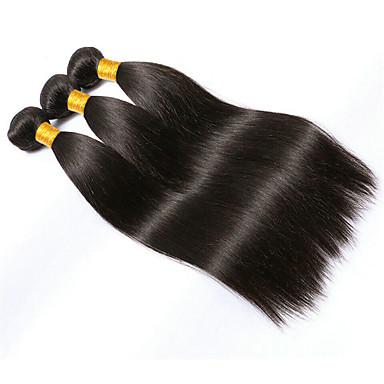 cheap Clearance-3 Bundles Brazilian Hair Straight Virgin Human Hair 300 g Natural Color Hair Weaves / Hair Bulk Black Human Hair Weaves Human Hair Extensions / 10A