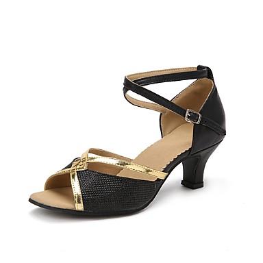 Chaussures de danse(Argent) -Personnalisables-Talon Personnalisé-Similicuir Paillette Brillante-Latine Salon , black , us7.5 / eu38 / uk5.5 / cn38