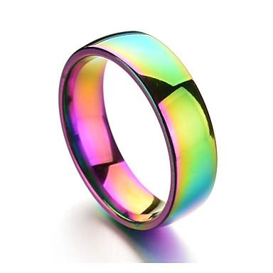 billige Motering-Herre Band Ring Lysebrun Titanium Stål Rustfritt stål Sirkelformet Fargerik Daglig Formell Smykker Regnbue Billig Humør