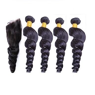 povoljno Ekstenzije od ljudske kose-4 paketića Peruanska kosa Valovita kosa Remy kosa Ljudske kose plete 12-26 inch Isprepliće ljudske kose Proširenja ljudske kose / 10A