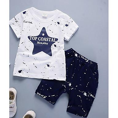 povoljno Kompletići za dječake-Dijete koje je tek prohodalo Dječaci Ležerne prilike Dnevno Jednobojni Na točkice Dugih rukava Normalne dužine Pamuk Bambus vlakna Komplet odjeće Navy Plava