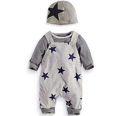 cheap Baby & Toddler Boy-Baby Boys' Simple / Casual Daily / Going out Print Long Sleeve Regular Regular Cotton Clothing Set Gray / Toddler