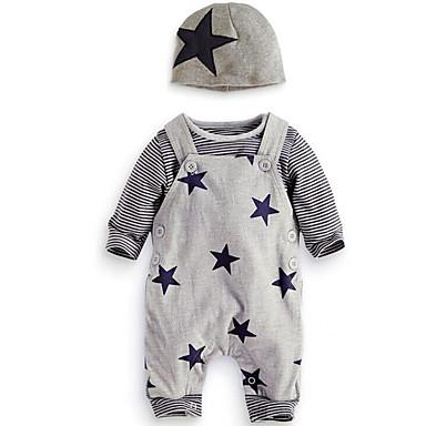preiswerte Babykleidung Jungen-Baby Jungen Einfach / Freizeit Alltag / Ausgehen Druck Langarm Standard Standard Baumwolle Kleidungs Set Grau
