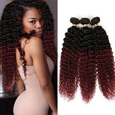 povoljno Ekstenzije od ljudske kose-3 paketa 4 paketića Brazilska kosa Kinky Curly Ljudska kosa Ombre Ombre Isprepliće ljudske kose Proširenja ljudske kose / 10A