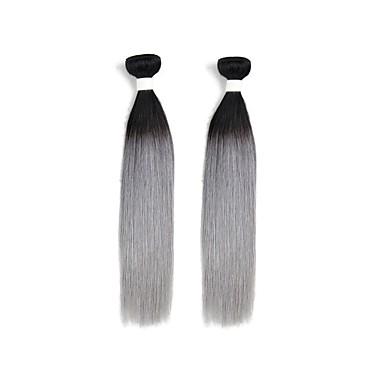 povoljno Ekstenzije od ljudske kose-2 Paketi Brazilska kosa Ravan kroj Remy kosa Ombre Isprepliće ljudske kose Proširenja ljudske kose / 10A