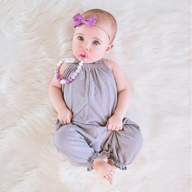 preiswerte Einteiler für kleine Mädchen-Baby Mädchen Einfach / Retro Alltag Solide Kurze Ärmel / Ärmellos Baumwolle / Leinen / Bambusfaser Anzug & Overall Rosa