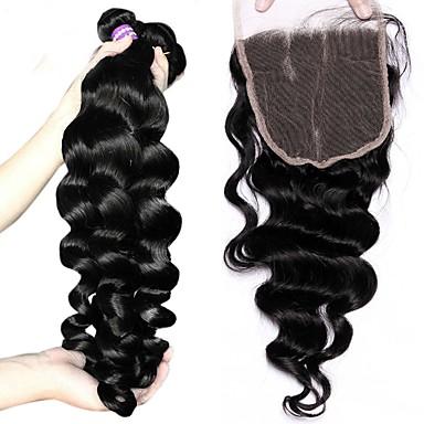 3 πακέτα με κλείσιμο Βραζιλιάνικη Χαλαρό Κυματιστό Αγνή Τρίχα Μαλλιά υφάδι με κλείσιμο Υφάνσεις ανθρώπινα μαλλιών Επεκτάσεις ανθρώπινα μαλλιών / 10A