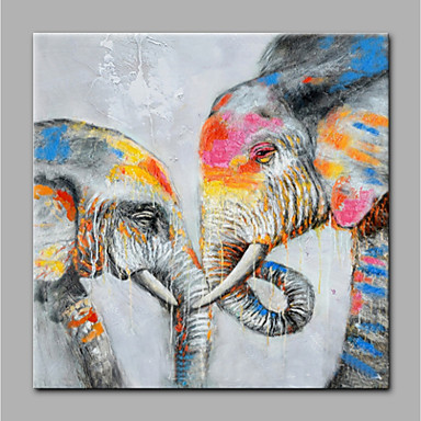 Hang-ζωγραφισμένα ελαιογραφία Ζωγραφισμένα στο χέρι - Ζώα Μοντέρνα Χωρίς Εσωτερικό Πλαίσιο / Κυλινδρικός καμβάς