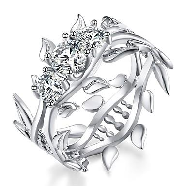 Γυναικεία Band Ring Cubic Zirconia High Crystal Ασημί Ζιρκονίτης Ασημί Circle Shape Βίντατζ Βασικό Μοντέρνα Γάμου Αρραβώνας Κοσμήματα Leaf Shape