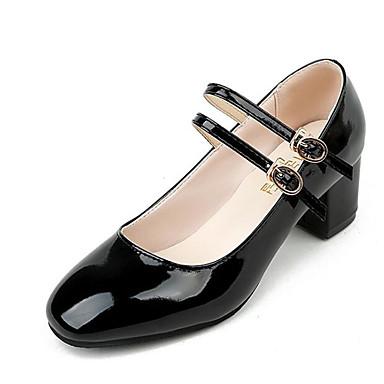 Mujer Zapatos PU Primavera Confort Tacones Tacón Cuadrado Negro / Wine VZm6A5V