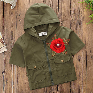 Νήπιο Κοριτσίστικα Απλός Καθημερινό Καθημερινά Αθλητικά Μονόχρωμο Φλοράλ Λουλούδι Κομψό Λεπτό Κοντομάνικο Κανονικό Βαμβάκι Μπλούζα Πράσινο Χακί