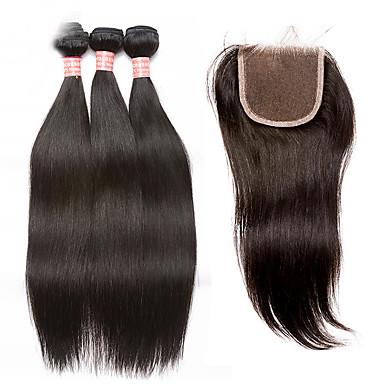 povoljno Ekstenzije od ljudske kose-3 paketi s zatvaranjem Malezijska kosa Ravan kroj Virgin kosa Kosa potke zatvaranje Isprepliće ljudske kose Proširenja ljudske kose / 10A