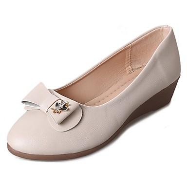 Mujer Zapatos PU Primavera Mocasín Bailarinas Tacón Cuña Dedo redondo Pajarita Negro / Beige / Amarillo NWpCS47D