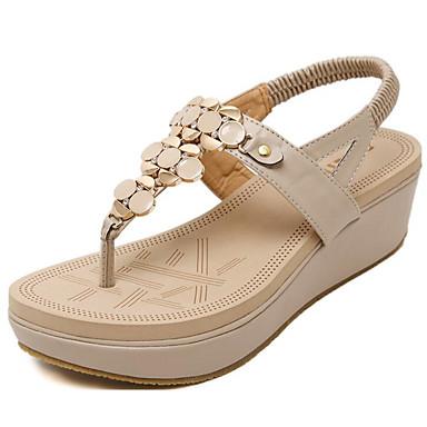 Mujer Zapatos Cuero de Napa Verano Confort Sandalias Tacón Bajo Negro / Almendra KkBmnriT