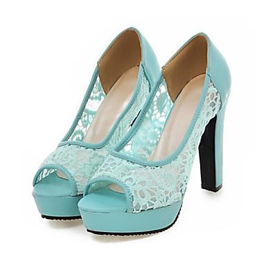 Mujer Zapatos PU Primavera / Verano Confort / Innovador Sandalias Tacón alto Puntera abierta Cuentas Negro / Beige / Rosa / Boda mk65q