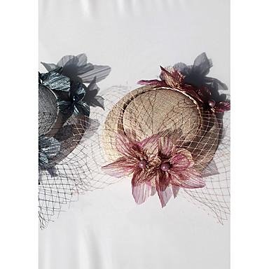 voordelige Hoeden-Katoen hatut met Nep Parel / Satijnen bloem 1pc Bruiloft / Speciale gelegenheden Helm