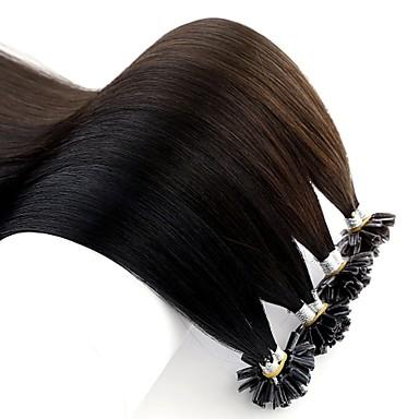 preiswerte Echthaar Haarverlängerungen-Neitsi Fusion / U-Spitze Haarverlängerungen Glatt Cabello Natural Remy Brasilianisches Haar Natürlich Braun 1pack Damen Kastanienbraun