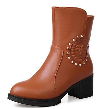 Mujer Zapatos PU Primavera / Otoño Confort / Botas hasta el Tobillo Botas Tacón Cuadrado Gris / Marrón / Wine gptVjDGK