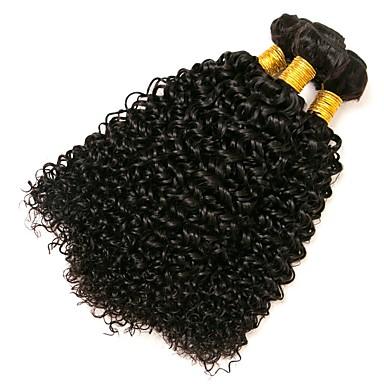 povoljno Ekstenzije od ljudske kose-3 paketa Brazilska kosa Kinky Curly Ljudska kosa Ljudske kose plete 8-28 inch Isprepliće ljudske kose Proširenja ljudske kose / 8A