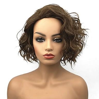 Συνθετικές Περούκες Σγουρά Σγουρά Περούκα Κοντό Ανοικτό Καφέ Συνθετικά μαλλιά Γυναικεία Καφέ StrongBeauty