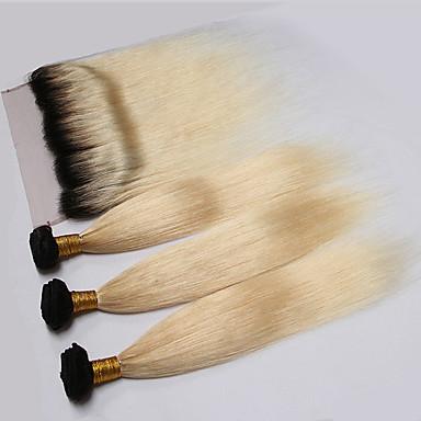 povoljno Ekstenzije od ljudske kose-4 paketića Peruanska kosa Ravan kroj Virgin kosa Ombre Isprepliće ljudske kose Proširenja ljudske kose / 10A