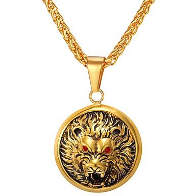 levne Dámské šperky-Pánské Náhrdelníky s přívěšky franko řetěz Zvíře Vlk Hip Hop Nerez Zlatá Stříbrná Náhrdelníky Šperky 1 Pro Denní Street