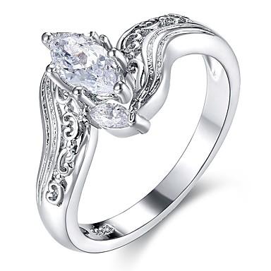 billige Motering-Dame Band Ring Kubisk Zirkonium Sølv Zirkonium Sølv Sirkelformet Vintage Mote Bryllup Engasjement Smykker Blad Formet
