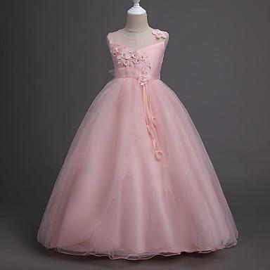 Παιδιά Κοριτσίστικα Γλυκός Πάρτι Φλοράλ Πολυεπίπεδο Ζακάρ Αμάνικο Φόρεμα Ανθισμένο Ροζ / Βαμβάκι