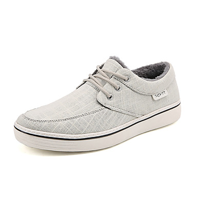 Men's Shoes Canvas Winter Fall Fluff Lining Comfort Sneakers Casual Office & Career Black Gray