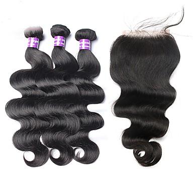 povoljno Ekstenzije od ljudske kose-3 paketi s zatvaranjem Malezijska kosa Tijelo Wave Virgin kosa Kosa potke zatvaranje Isprepliće ljudske kose Proširenja ljudske kose / 10A