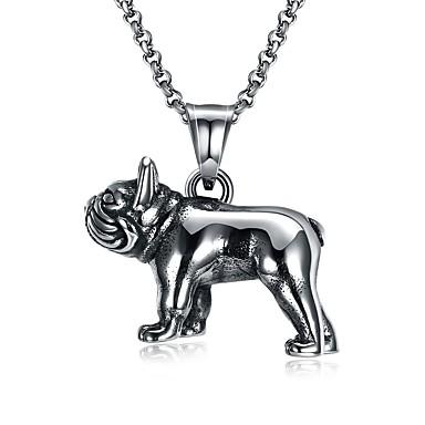voordelige Herensieraden-Heren Hangertjes ketting Honden Europees Gothic Initial Roestvast staal Titanium Staal Wolfraamstaal Zilver Kettingen Sieraden 1 Voor Ceremonie Bar