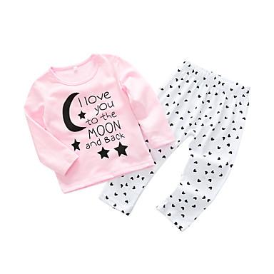 povoljno Odjeća za bebe-Dijete Djevojčice Jednostavan / Ležerne prilike Dnevno Slovo Dugih rukava Pamuk Komplet odjeće Blushing Pink