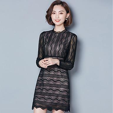 fd81ef2b27798 Kadın's Günlük Dantel Elbise - Solid, Dantel Bisiklet Yaka Diz üstü 6505353  2019 – $19.99
