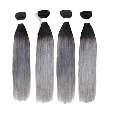 povoljno Ekstenzije od ljudske kose-4 paketića Brazilska kosa Ravan kroj Remy kosa Ombre Isprepliće ljudske kose Proširenja ljudske kose / 10A