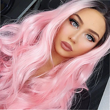 Synthetic Lace Front Wig Wavy Pink Synthetic Hair Ombre Hair / Highlighted / Balayage Hair / Updo Pink Wig Women's Long Lace Front Black / Pink
