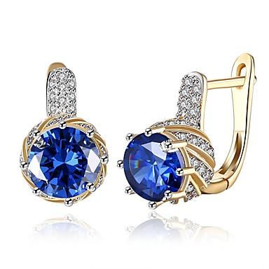 Γυναικεία Cubic Zirconia High Crystal Σκουλαρίκια με Κλιπ Κλασσικό Μοντέρνα Ζιρκονίτης Επιχρυσωμένο Σκουλαρίκια Κοσμήματα Μπλε / Χρυσό / Άσπρο Για Γάμου Καθημερινά