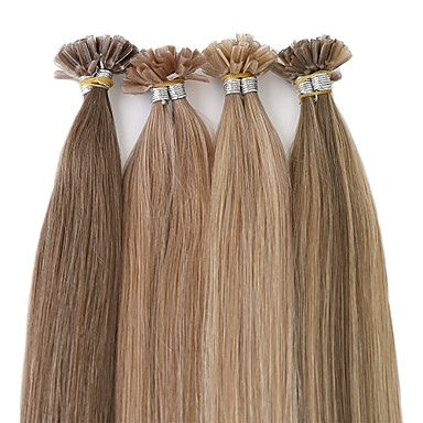 Neitsi Queratina / Ponta U Extensões de cabelo humano Liso Cabelo Natural Remy Cabelo Brasileiro Côr Natural 1pack Mulheres Loiro Platina