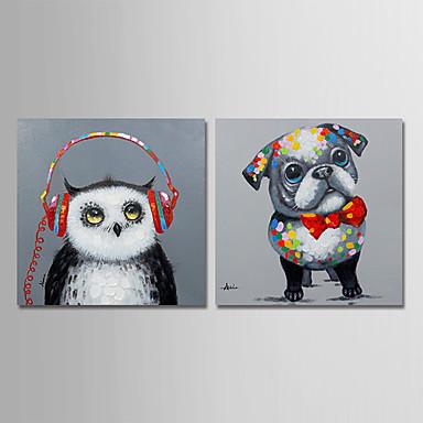 Hang-ζωγραφισμένα ελαιογραφία Ζωγραφισμένα στο χέρι - Ζώα Σύγχρονο Μοντέρνα Περιλαμβάνει εσωτερικό πλαίσιο / Επενδυμένο καμβά