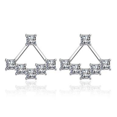 Γυναικεία Διαμάντι Cubic Zirconia Σκουλαρίκια στυλ μπρος και πίσω Stea κυρίες Βασικό Μοντέρνα Σκουλαρίκια Κοσμήματα Ασημί Για Καθημερινά Γαμήλια Τελετή