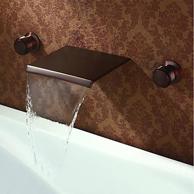 Μπάνιο βρύση νεροχύτη - Καταρράκτης Λαδωμένο Μπρούντζινο Αναμεικτικές με ξεχωριστές βαλβίδες Δύο λαβές τρεις οπέςBath Taps / Ορείχαλκος