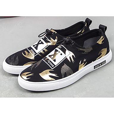 Hombre Zapatos Punto Primavera / Otoño Confort Zapatillas de deporte Paseo Dorado / Negro y Oro / Negro / blanco TujCm