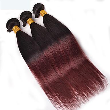 povoljno Ekstenzije od ljudske kose-4 paketića Brazilska kosa Ravan kroj Virgin kosa Ljudske kose plete 8-28 inch Isprepliće ljudske kose Svilenkast proširenje Prirodno Proširenja ljudske kose / 10A