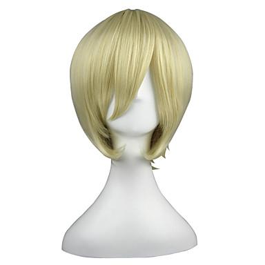 Συνθετικές Περούκες Κατσαρά Ίσια Κατσαρά Ίσια Περούκα Ξανθό Κοντό Κίτρινο Συνθετικά μαλλιά Γυναικεία Ξανθό