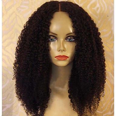 Φυσικά μαλλιά Δαντέλα Μπροστά Χωρίς Κόλλα Δαντέλα Μπροστά Περούκα Κούρεμα καρέ Κούρεμα με φιλάρισμα Με αφέλειες στυλ Βραζιλιάνικη Afro Περούκα 130% Πυκνότητα μαλλιών / Φυσική γραμμή των μαλλιών