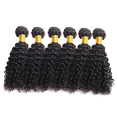 povoljno Ekstenzije od ljudske kose-6 paketića Brazilska kosa Kovrčav Virgin kosa Ljudske kose plete 8-26 inch Priroda Crna Isprepliće ljudske kose Proširenja ljudske kose / 10A