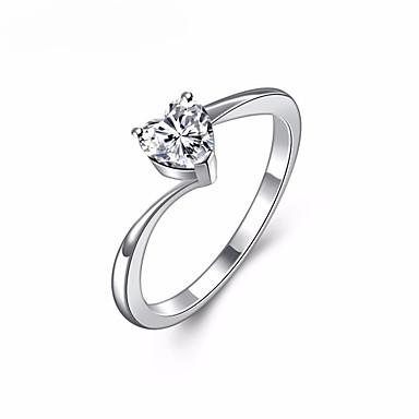 levne Pánské šperky-Dámské Snubní prsteny Boxer obalovací kroužek Diamant Křišťál Kubický zirkon Stříbrná Slitina Sladký Elegantní Svatební Plesová maškaráda Šperky simulované Srdce láska